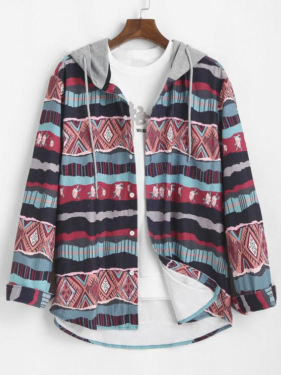 best Tribal Geometric Floral Print Colorblock Hooded Shirt - MULTI M