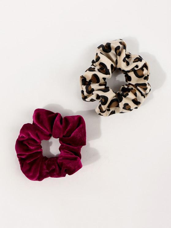 buy 2Pcs Velour Leopard Scrunchies Set - MULTI-A