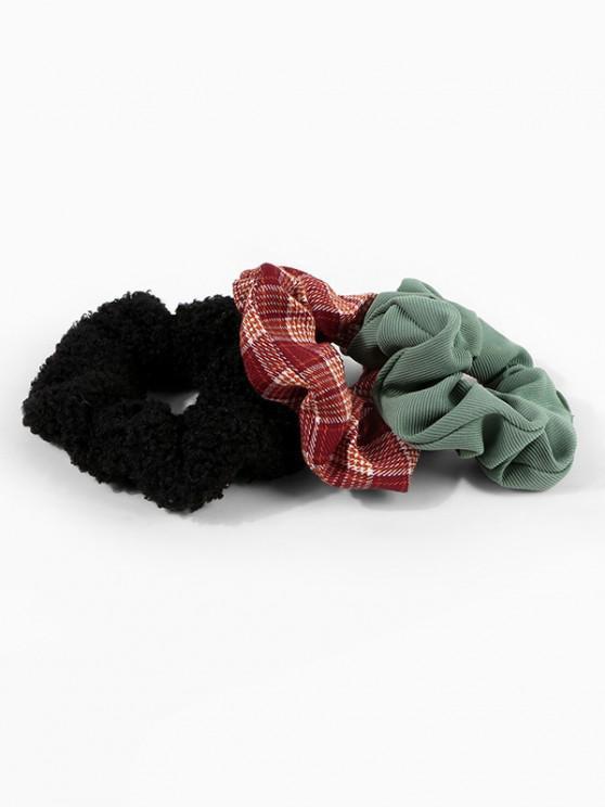 womens 3Pcs Fluffy Plaid Scrunchie Set - MULTI-A