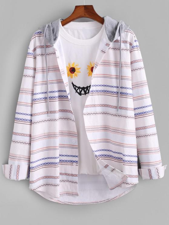 lady Tribal Striped Colorblock Hooded Corduroy Shirt - WHITE L