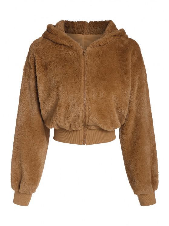 ZAFUL Manteau à Capuche Fourré en Fausse Fourrure - Orange Tigre XL