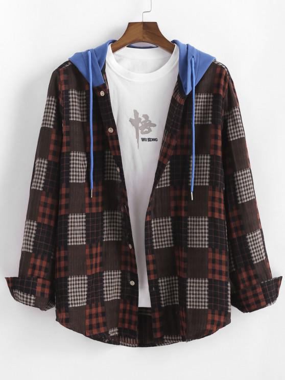 Plaid Colorblock Hooded Shirt Jacket - متعدد 2XL