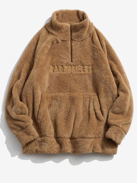 women ZAFUL Letter Embroidered Quarter Zip Fluffy Sweatshirt - DEEP YELLOW XS