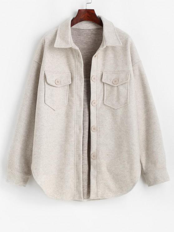 best ZAFUL Button Up Flap Pockets Wool Blend Shacket - LIGHT GRAY S
