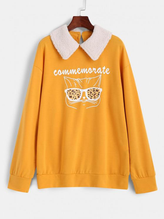 affordable Leopard Glasses Graphic Contrast Peter Pan Collar Sweatshirt - YELLOW S