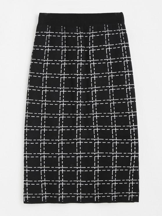 Plaid Side Slit Knitted Skirt - أسود حجم واحد