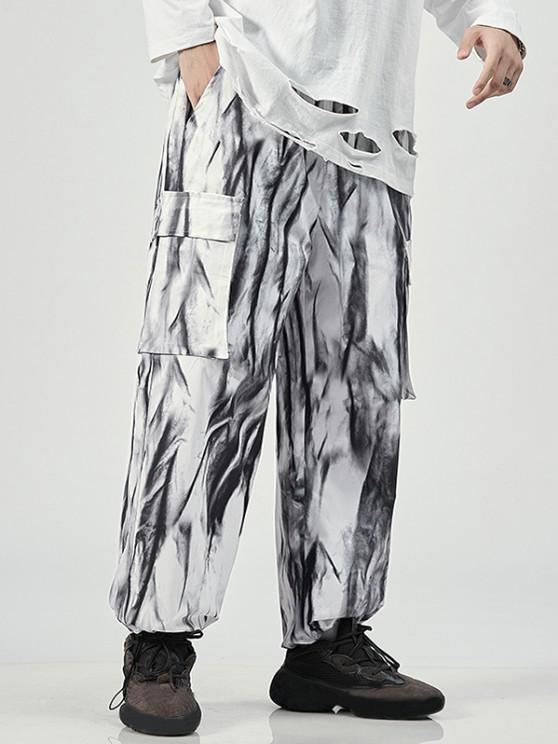 Tie Dye Print Cargo Pants - أبيض L
