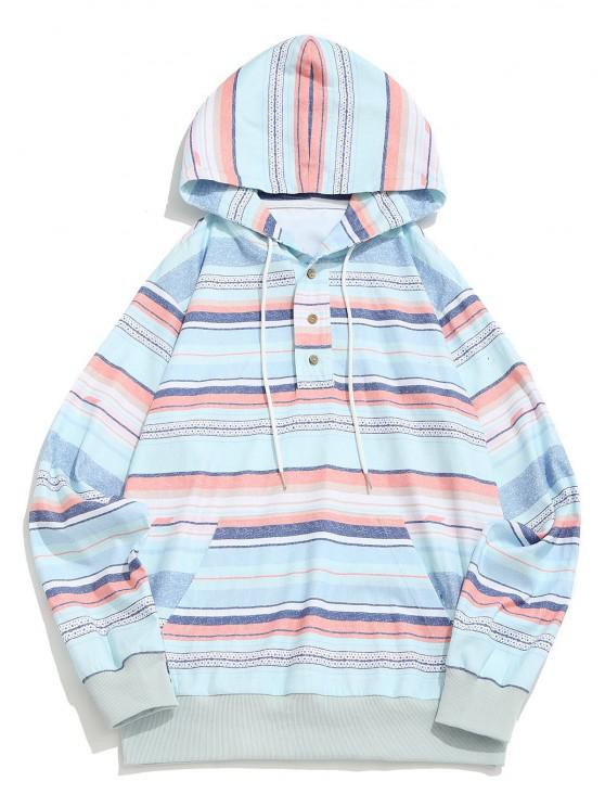 outfit Striped Pattern Half Button Corduroy Hoodie - MULTI M