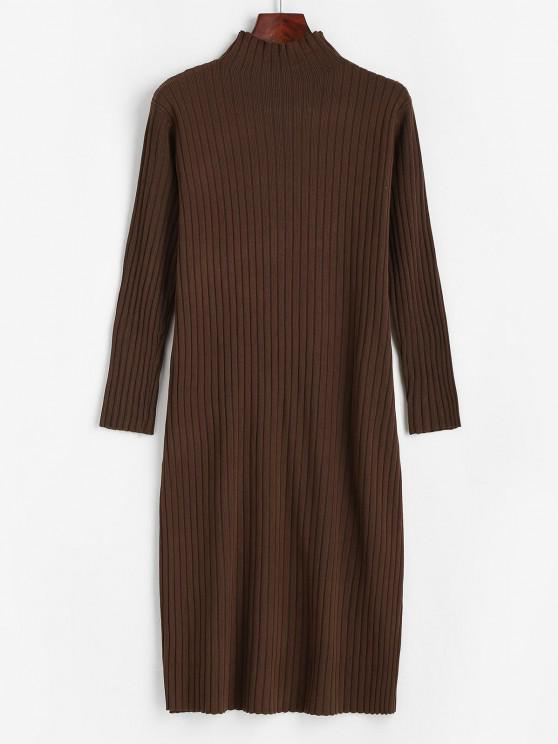 women Ribbed Long Sleeve Sweater Dress - SEPIA ONE SIZE