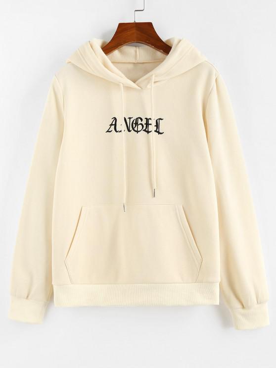 buy ZAFUL Letter Embroidered Kangaroo Pocket Hoodie - LIGHT YELLOW M
