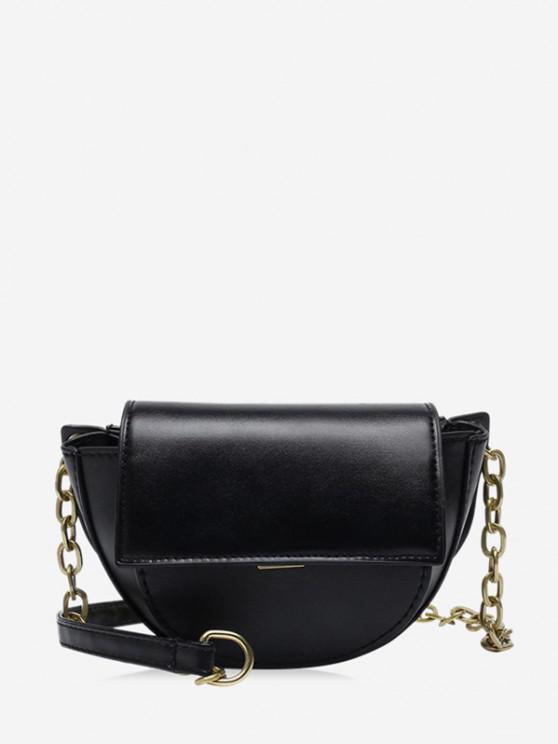 trendy Solid Cover Chain Saddle Bag - BLACK
