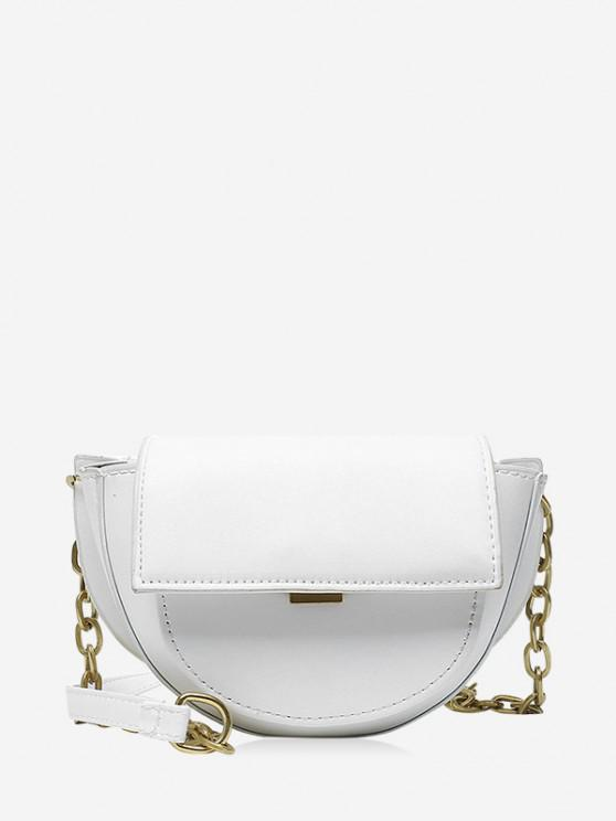 fashion Solid Cover Chain Saddle Bag - CRYSTAL CREAM