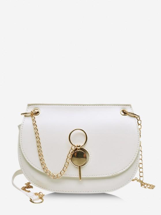 buy Chain Crossbody Saddle Bag - MILK WHITE