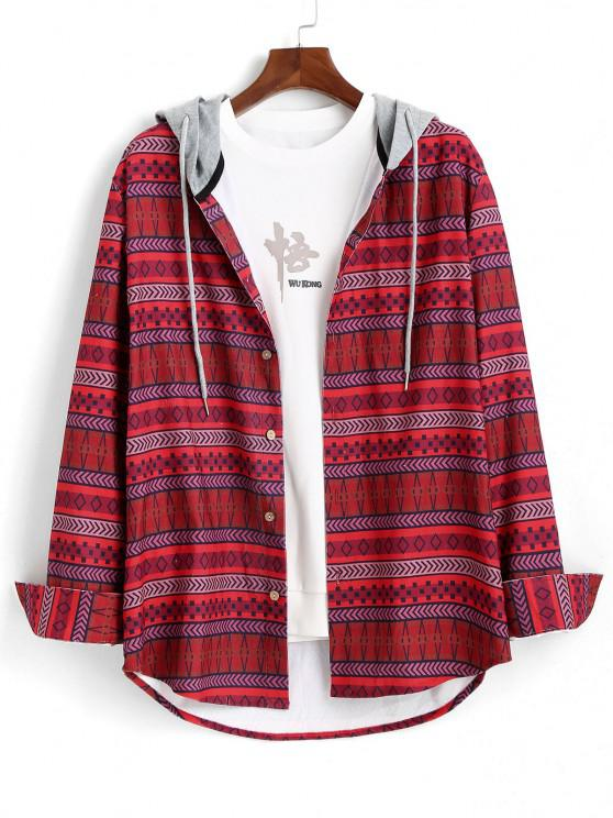unique Tribal Geometric Pattern Colorblock Hooded Shirt - RED 2XL