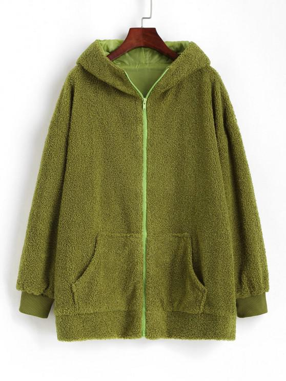 lady Oversize Zip Up Animal Teddy Coat - GREEN L