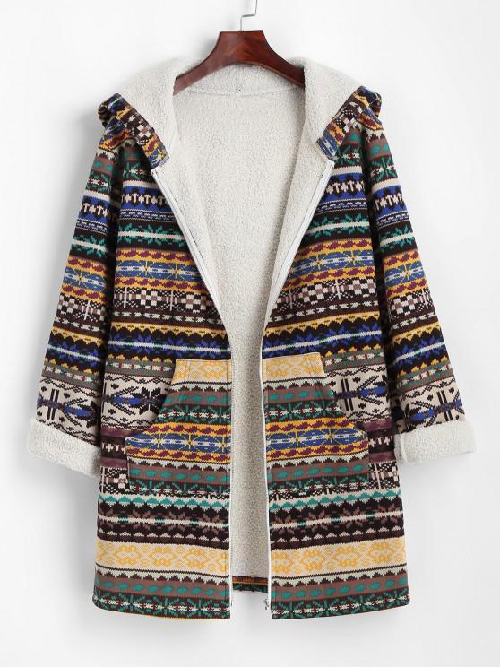 ZAFUL Tribal Print Zip Up Fleece Lined Coat - القهوة العميقة S