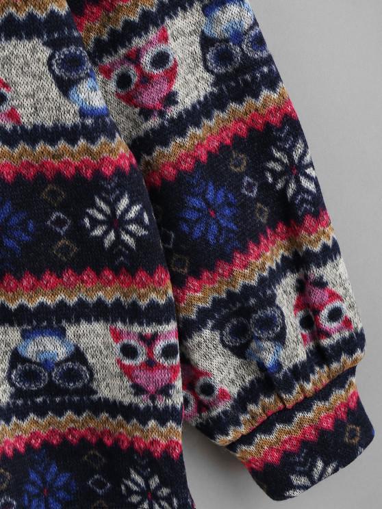 ZAFUL Loose Tribal Print Peter Pan Collar Sweatshirt - Deep Blue S