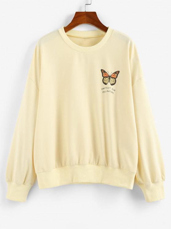 latest ZAFUL Oversized Butterfly Print Drop Shoulder Sweatshirt - LIGHT YELLOW L