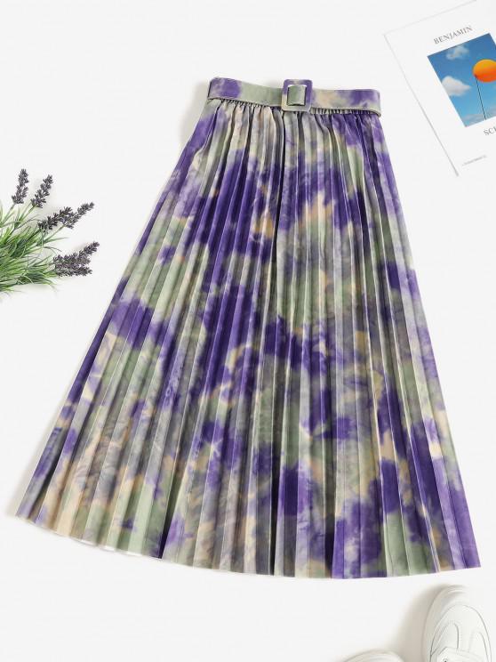 women's Tie Dye Pleated Belted A Line Skirt - MULTI ONE SIZE