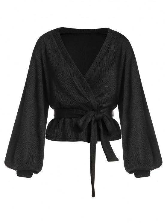 online ZAFUL Belted Lantern Sleeve Cardigan - BLACK XL