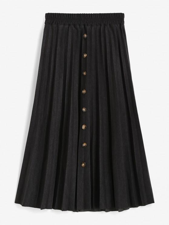 best Mock Button High Waisted Pleated Skirt - BLACK ONE SIZE