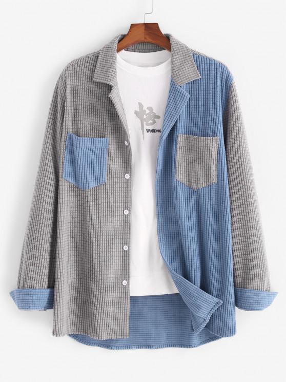Colorblock Pocket Long Sleeve Shirt - رمادي فاتح S
