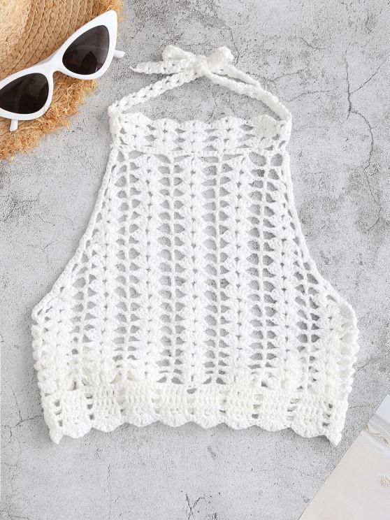 buy High Neck Crocheted Bikini Top - WHITE ONE SIZE