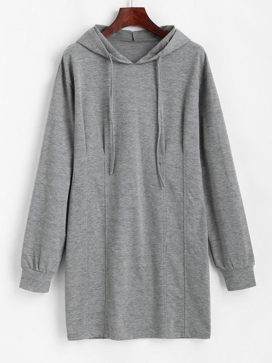 womens ZAFUL Long Sleeve Drawstring Slinky Hoodie Dress - DARK GRAY M