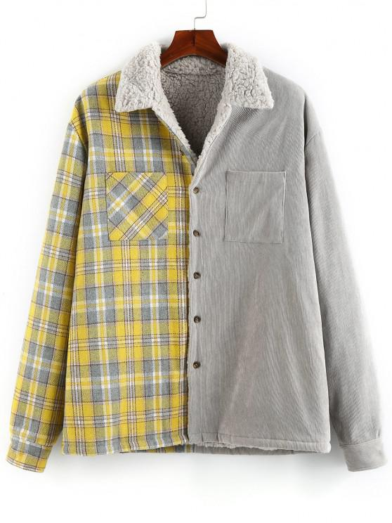 fancy ZAFUL Plaid Corduroy Panel Teddy Shirt Jacket - MULTI S