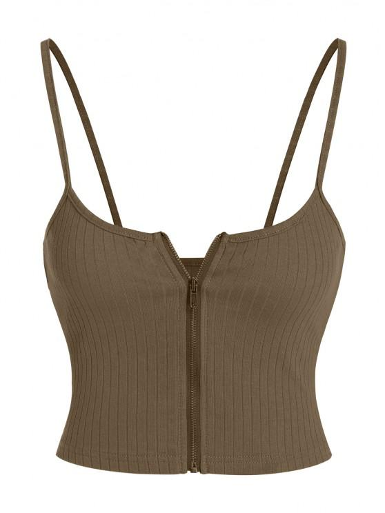 hot ZAFUL Ribbed Zip Front Crop Camisole - DEEP BROWN S
