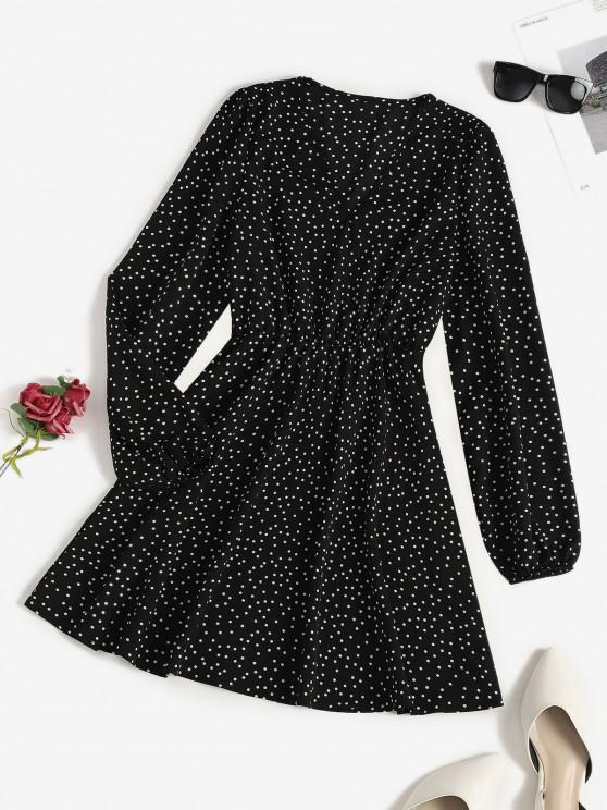 best V Neck Polka Dot Long Sleeve Mini Dress - BLACK S