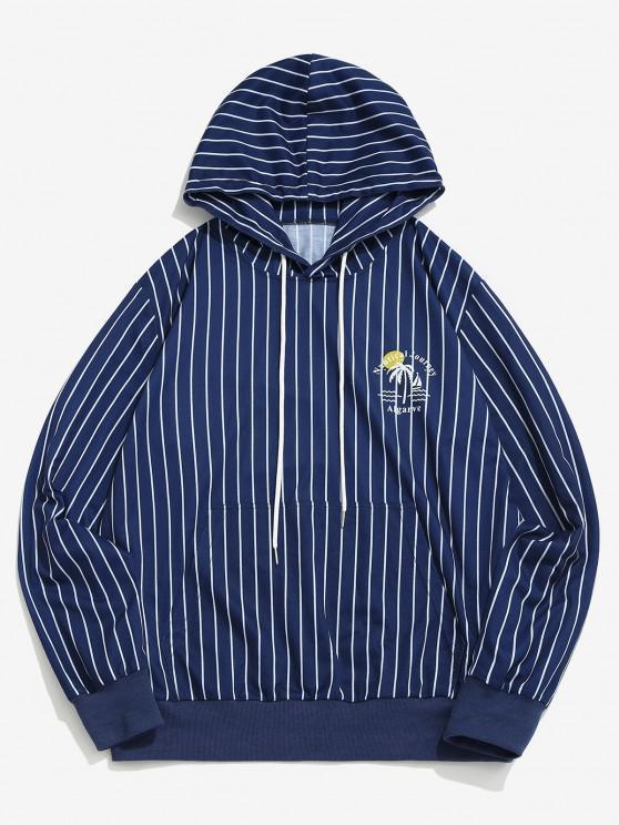 women Algarve Nautical Journey Striped Pattern Hoodie - BLUE S