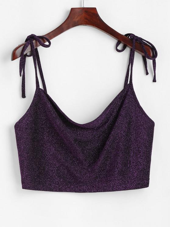 lady Sparkly Metallic Thread Tie Shoulder Crop Camisole - CONCORD M