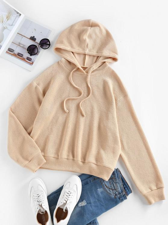 fashion ZAFUL Drawstring Drop Shoulder Knitted Hoodie - LIGHT COFFEE S