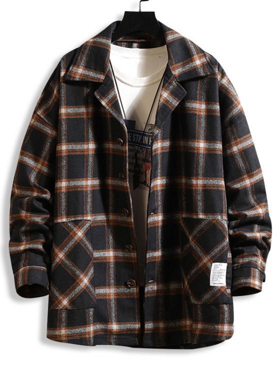chic Plaid Print Applique Button Up Jacket - BLACK 2XL