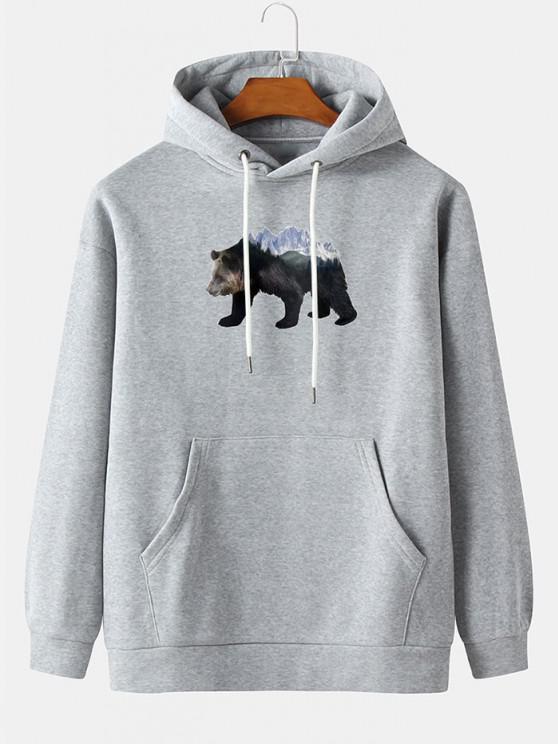 shop Front Pocket Ice Bear Print Fleece Hoodie - LIGHT GRAY L