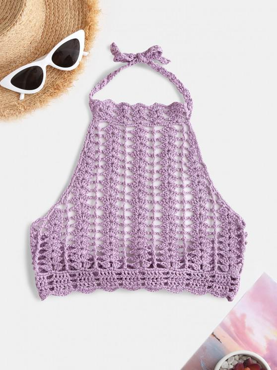 High Neck Crocheted Bikini Top - ضوء ارجواني حجم واحد