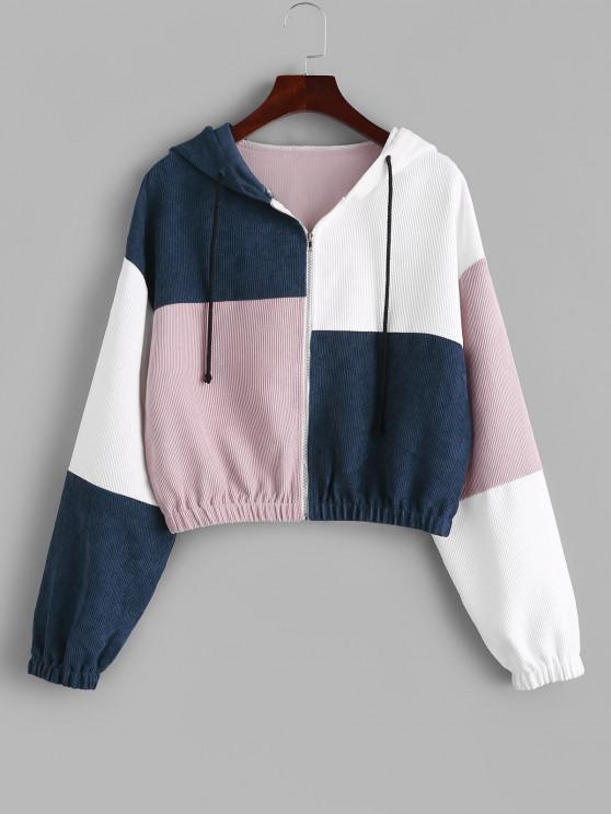 buy ZAFUL Corduroy Color Block Hooded Zip Jacket - DARK SLATE BLUE S