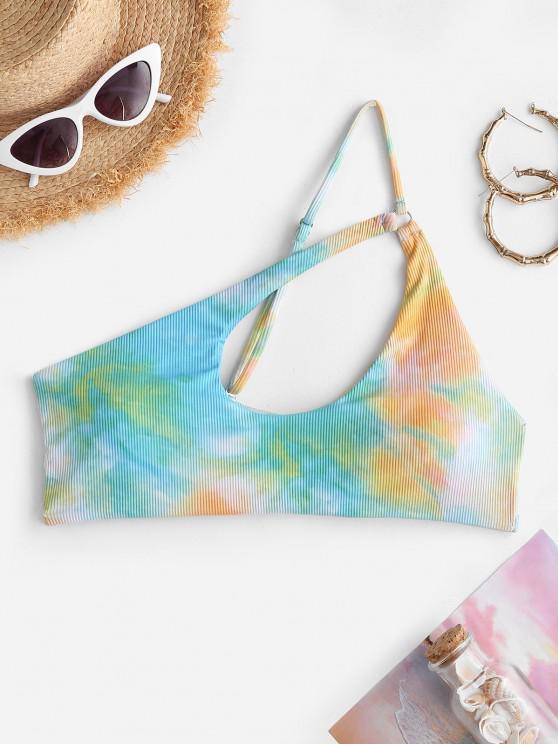 buy ZAFUL Ribbed Tie Dye One Shoulder Cutout Bikini Top - LIGHT GREEN S