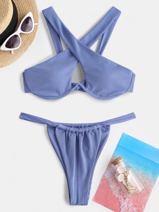 unique ZAFUL Ribbed Criss Cross Underwire Tanga Bikini Swimwear - BLUE M