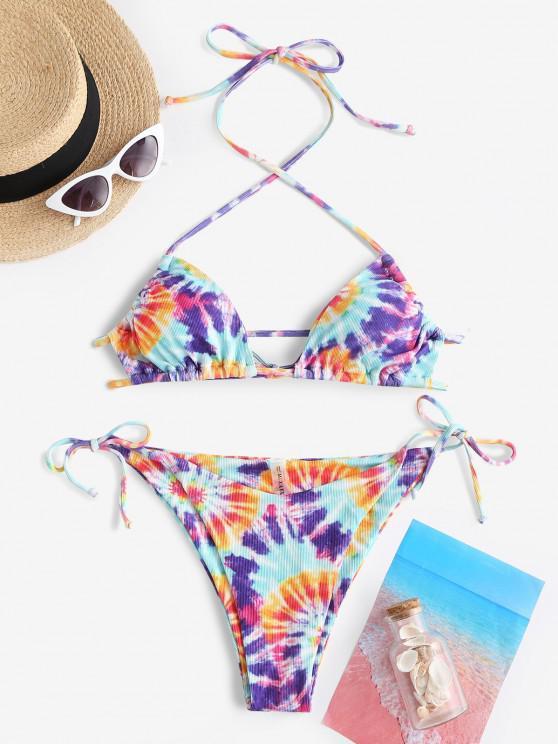 ZAFUL Gerippter Krawattenfärbende Neckholder Schnur Bikini Badebekleidung - Lila S