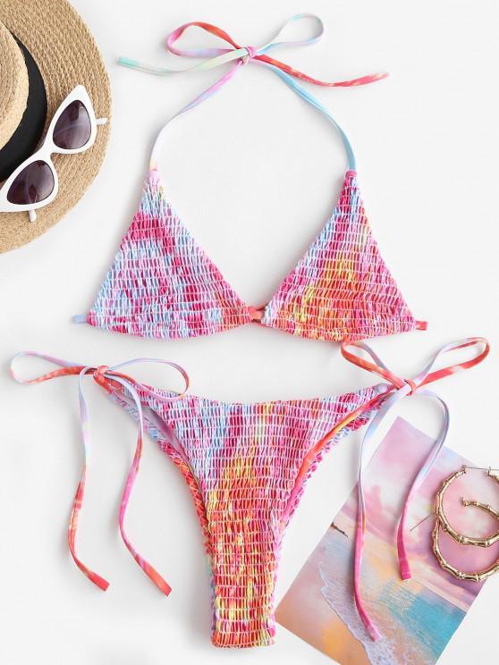 ZAFUL Tie Dye Smocked Bralette String Bikini Swimwear - وردي فاقع M