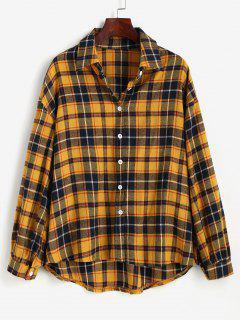 Plaid Drop Shoulder High Low Shirt - Yellow L