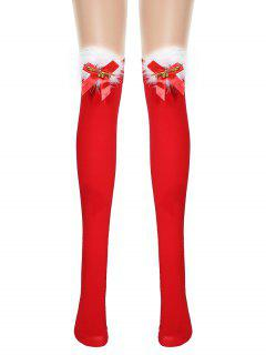 Christmas Bowknot Fluffy Over The Knee Socks - Red