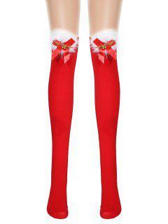 Chaussettes De NoëlHauteur à GenouFourrées Avec Nœud Papillon - Rouge