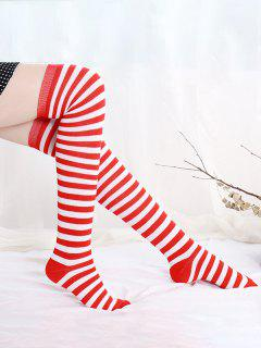 Colorblock Striped Over The Knee Socks - Red