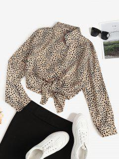 Leopard Animal Print Round Hem Tunic Shirt - Light Coffee Xl