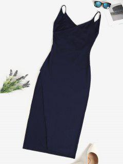 Surplice-front Cowl Back Slinky Maxi Cami Dress - Deep Blue L