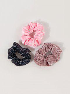 3Pcs Artificial Pearl Sequin Velour Scrunchies Set - Multi-a