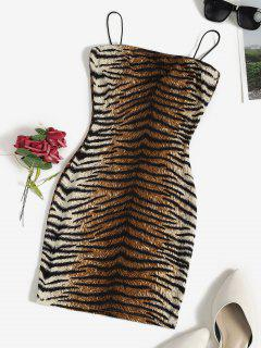 Tiger Print Bungee Strap Bodycon Dress - Multi S